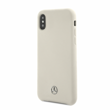 Mercedes , Case for iPhone Xs/X, LIQUID SILICON  with microfiber lining - White