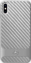 """Mercedes, Case for iPhone Xs/X, Collection """"DYNAMIC"""", Real Carbon fiber Case & Aluminium stripe, Silver"""