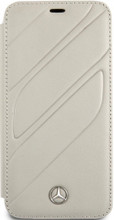 """Mercedes, Book-Case for iPhone Xs/X, collection """"NEW ORGANIC I """", Genuine leather, Crystal Grey"""