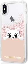 Karl Lagerfeld, K-Peek A Boo, Case for iPhone Xs/X,  Liquid Glitter/Rose Gold)