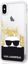 Karl Lagerfeld,  Choupette with Sunglasses, Case  for iPhone Xs/X, Liquid Glitter/Gold