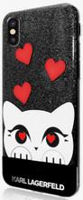 Karl Lagerfeld, Choupette Valentine,  Case for iPhone Xs/X,  Glitter/Black
