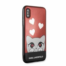 Karl Lagerfeld, Choupette Valentine,  Case for iPhone Xs/X,  Glitter/Red