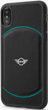Mini, ( Mini Cooper ), Case for iPhone Xs/X,  Hybrid Case , Debossed Circle , Leather - Black/Aqua