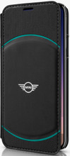 Mini, ( Mini Cooper), Book-Case for iPhone Xs/X,  Hybrid Case , Debossed Circle , Leather - Black/Aqua