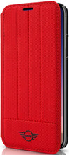 Mini,(Mini Cooper), Book-Case for iPhone Xs/X,  Hybrid Case ,  Debossed Lines , Leather - Red