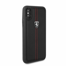 """Ferrari , Case for iPhone Xs/X, Collection """"HERITAGE"""" , W vertical contrasted stripe, Black"""