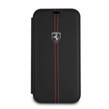 """Ferrari , Book-Case for iPhone Xs/X, Collection """"HERITAGE"""" , W vertical contrasted stripe - Black"""