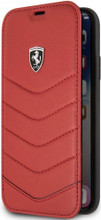 """Ferrari , Book-Case for iPhone 8 ( New iPhone 2017 ), collection """"HERITAGE"""" , Genuine leather , Quilted - Red"""