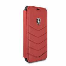 """Ferrari , Book-Case for iPhone X, collection """"HERITAGE"""" , Genuine leather , Quilted - Red"""