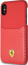 """Ferrari , Phone Case WITH CARD SLOT for iPhone Xs/X, Collection """"SF"""", CARBON, Red"""
