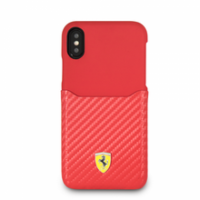 "Ferrari , Phone Case WITH CARD SLOT for iPhone Xs/X, Collection ""SF"", CARBON, Red"