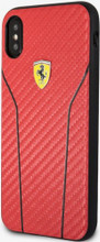Ferrari , case for iPhone X ,  leather with contrasted stitchings - Red Carbon