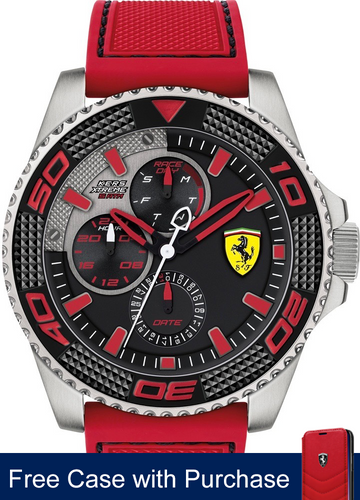 Scuderia Ferrari Kers Xtreme Watch, stainless steel case 48mm , Steel silver, with Red Hands Colour
