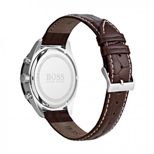 Hugo Boss Watch, Talent collection,  IP Case,  Tachymeter Grey Bezel, Brown Croc Leather Strap