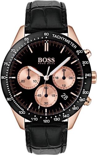 Hugo Boss Watch, Talent collection,  RG Case,  Tachymeter Black Bezel, Black Croc Leather Strap