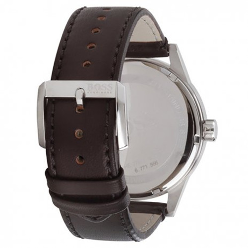 Hugo Boss Watch, Pilot collection, Stainless Steel, Black Dial, Black Leather Strap, Day/Date