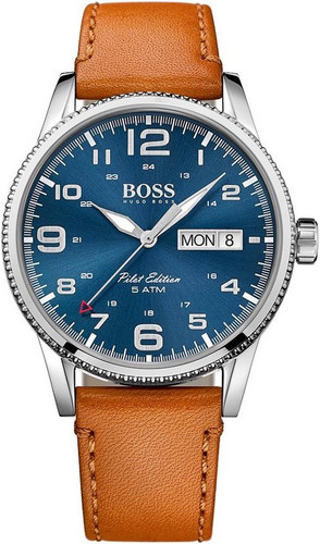 Hugo Boss Watch, Pilot collection, Stainless Steel, Blue Dial, Brown Leather Strap, Day/Date