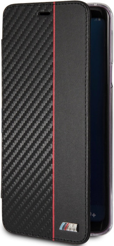 BMW, Book-Case for Samsung S9 + ,  Bi-Material Carbon  - Red