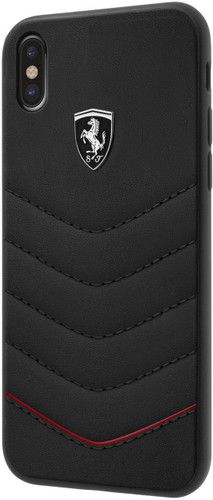 """Ferrari , Case for iPhone Xs/X, collection """"HERITAGE"""" , Genuine leather , Quilted - Black"""