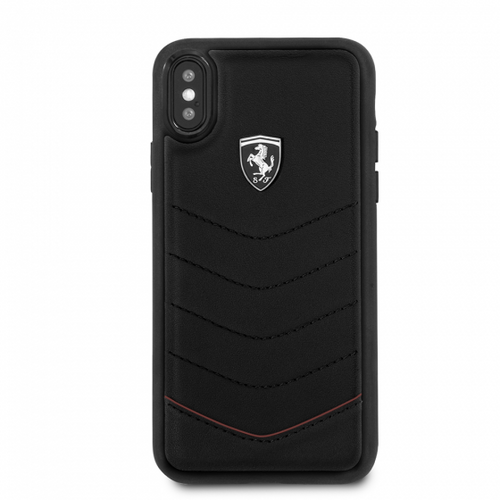 """Ferrari , Phone Case for iPhone Xs/X, Collection """"HERITAGE"""", Genuine Quilted Leather , Black"""