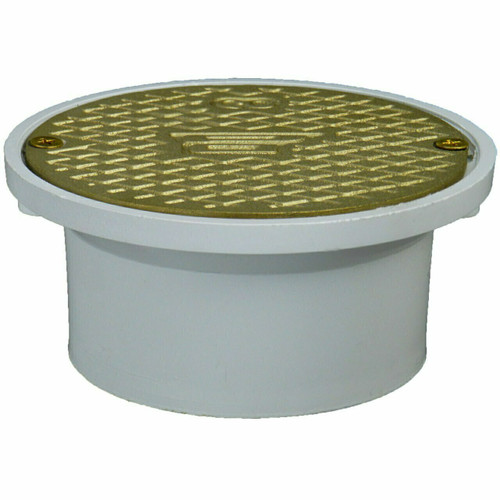 """4"""" Pipe Fit General Purpose Access with Scoriated Brass Cover with Square Ring"""