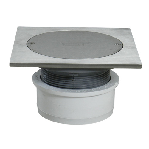 """4"""" Inside Hub Fit Adjustable Cleanout with Scoriated Nickel Cover and Square Ring"""