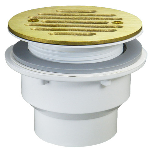 """Fiberglass Shower Drain - 1.5"""" with Stamped Polished Brass Strainer"""