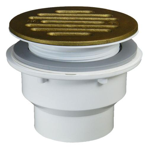 "Fiberglass Shower Drain - 1.5"" with Antique Brass Strainer"