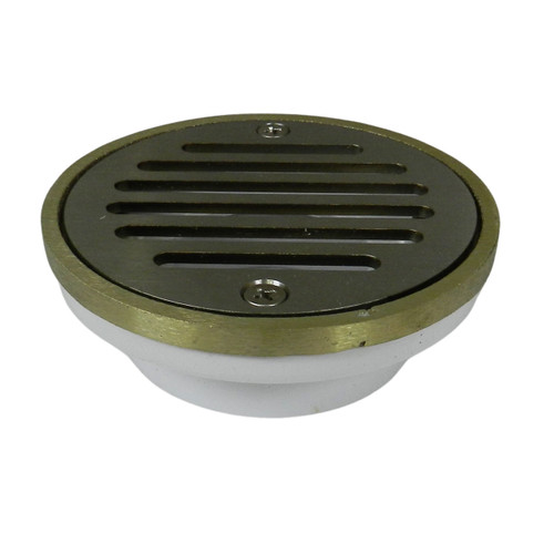 """2""""x3"""" Pipe Fit General Purpose Drain - Short Version with Round Ring with Nickel Strainer"""