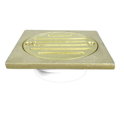 """2""""x3"""" Pipe Fit General Purpose Drain - Short Version with Square Ring with Cast Brass Finish Strainer"""