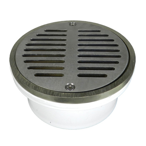 """3""""x4"""" Pipe Fit General Purpose Drain with Round Ring with Nickel Strainer"""