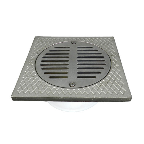 """3""""x4"""" Pipe Fit General Purpose Drain with Square Ring with Nickel Strainer"""