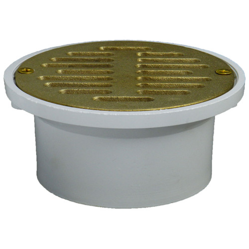 """3""""x4"""" Pipe Fit General Purpose Drain with Cast Brass Finish Strainer"""