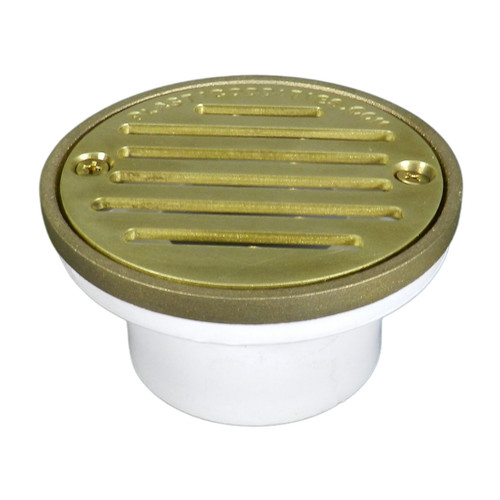 """3""""x4"""" Pipe Fit General Purpose Drain with Round Ring with Cast Brass Finish Strainer"""