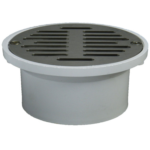 """3""""x4"""" Pipe Fit General Purpose Drain with Nickel Sundial Strainer"""