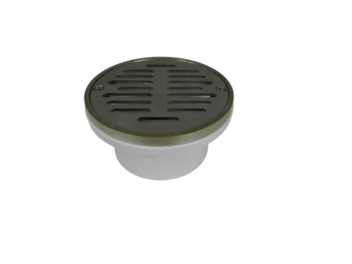"""4"""" Pipe Fit General Purpose Drain with Round Ring with Nickel Strainer"""