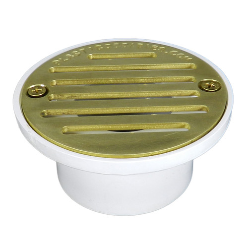 """4"""" Pipe Fit General Purpose Drain with Antique Brass Strainer"""