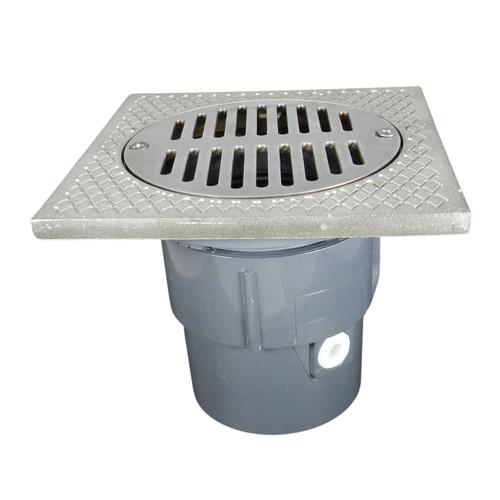 """3""""x4"""" Pipe Fit Adjustable General Purpose Drain with Square Ring with 6"""" Nickel Strainer"""