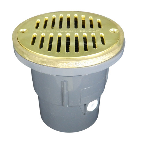 """3""""x4"""" Pipe Fit Adjustable General Purpose Drain with Round Ring with 6"""" Cast Brass Finish Strainer"""