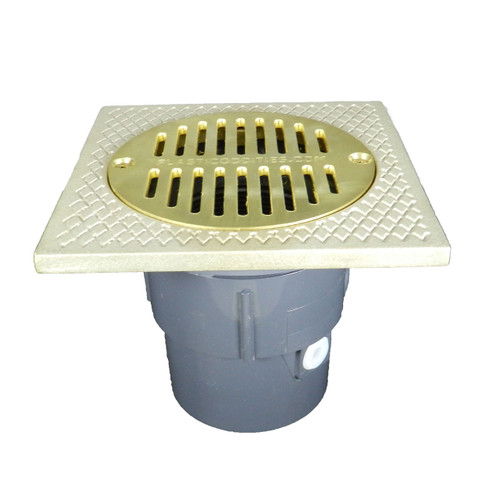 """3""""x4"""" Pipe Fit Adjustable General Purpose Drain with Square Ring with 6"""" Cast Brass Finish Strainer"""
