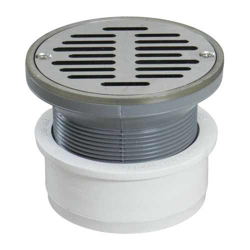 """4"""" Inside Hub Fit Adjustable General Purpose Drain with Round Ring with Nickel Strainer"""
