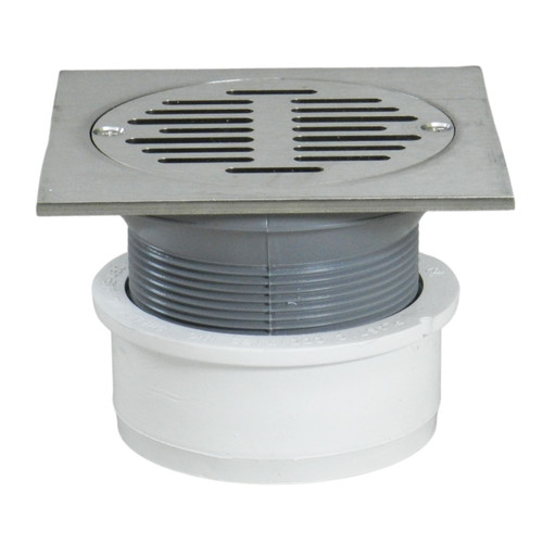 """4"""" Inside Hub Fit Adjustable General Purpose Drain with Square Ring with Nickel Strainer"""