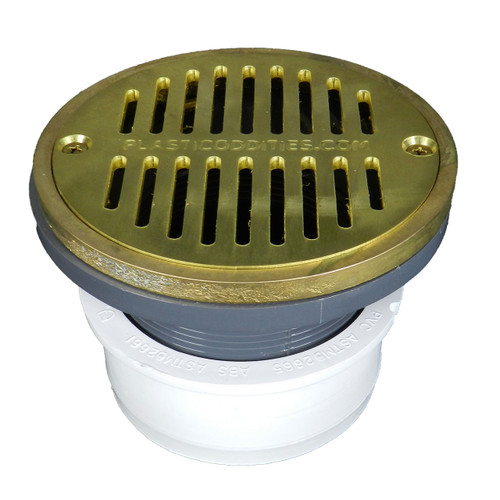 """4"""" Inside Hub Fit Adjustable General Purpose Drain with Round Ring with Cast Brass Finish  Strainer"""