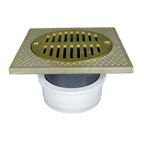 """4"""" Inside Hub Fit Adjustable General Purpose Drain with Square Ring with Cast Brass Finish  Strainer"""