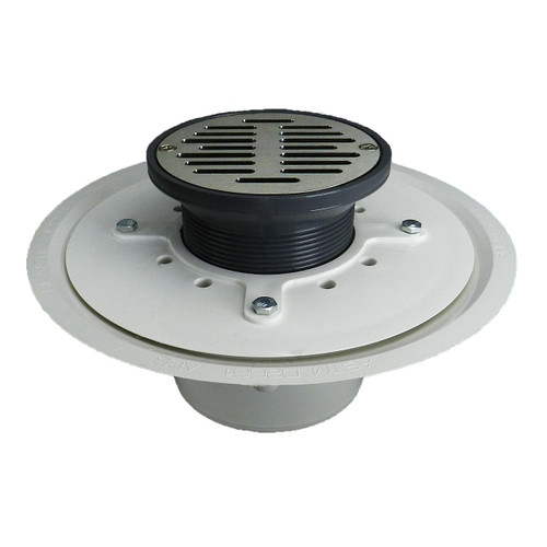 """3"""" Over Pipe Fit Heavy Duty Adjustable Floor Drain with Nickel Sundial  Strainer"""
