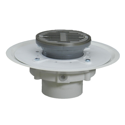 """3"""" Over Pipe Fit Heavy Duty Adjustable Floor Drain with Round Ring with Nickel Sundial  Strainer"""