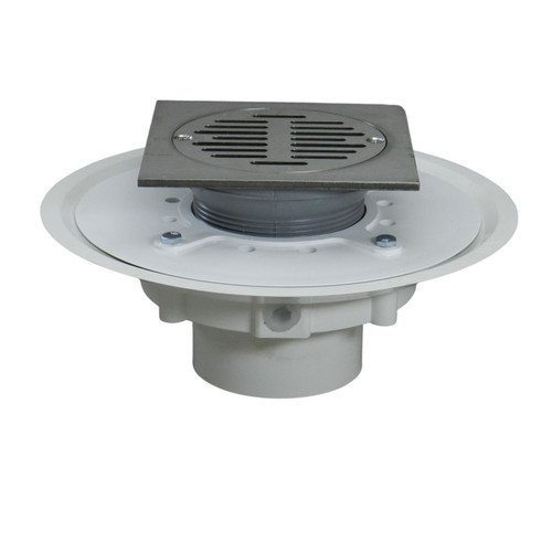 """3"""" Over Pipe Fit Heavy Duty Adjustable Floor Drain with Square Ring with Nickel Sundial  Strainer"""