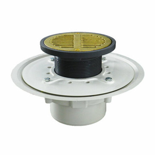 """3"""" Over Pipe Fit Heavy Duty Adjustable Floor Drain with Cast Brass Finish Strainer"""