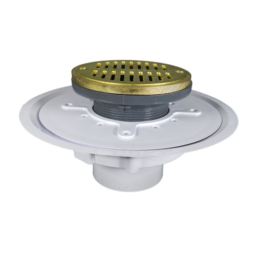 """3"""" Over Pipe Fit Heavy Duty Adjustable Floor Drain with Round Ring with Cast Brass Finish Strainer"""